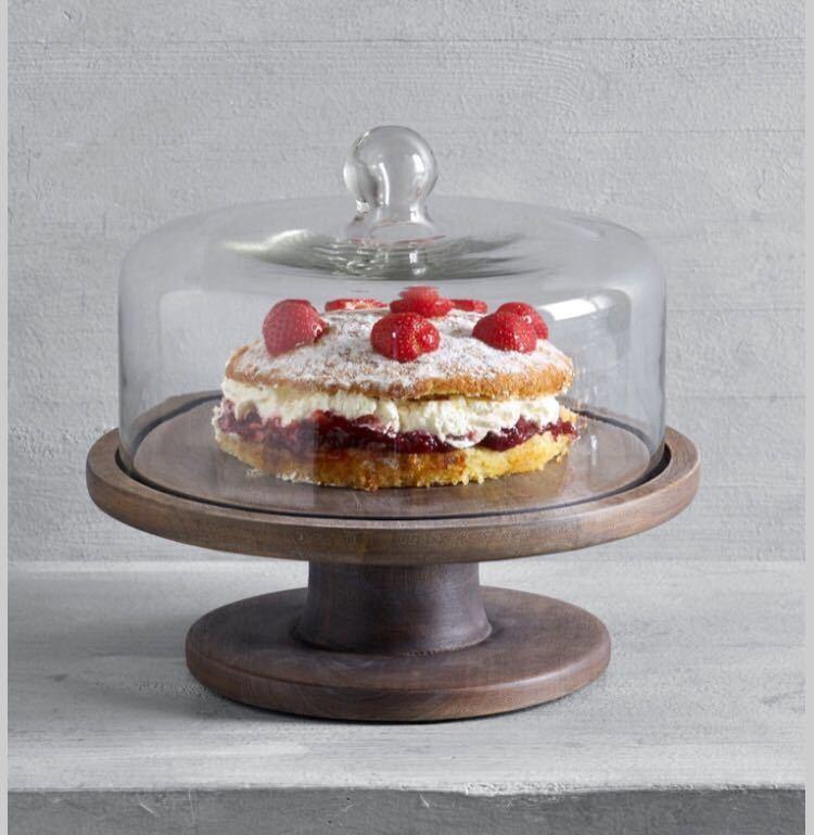 ケーキドーム ガラス製 木製 送料無料 新品未使用 イギリス直輸入 ガラスドーム 大きいサイズ 直径25cm シルバー系 おしゃれ 北欧 プレート_画像2
