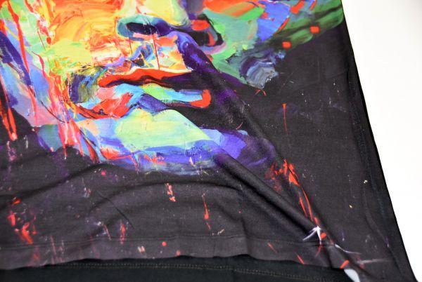 ■ボブ・マーリー(Bob Marley)フェイスTシャツ Mサイズ 黒/ブラック レゲエ カラフル プリント フィットデザイン 半袖 丸首■T-shirt_画像7