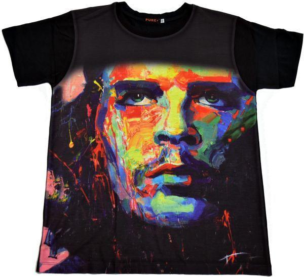 ■ボブ・マーリー(Bob Marley)フェイスTシャツ Mサイズ 黒/ブラック レゲエ カラフル プリント フィットデザイン 半袖 丸首■T-shirt_画像1