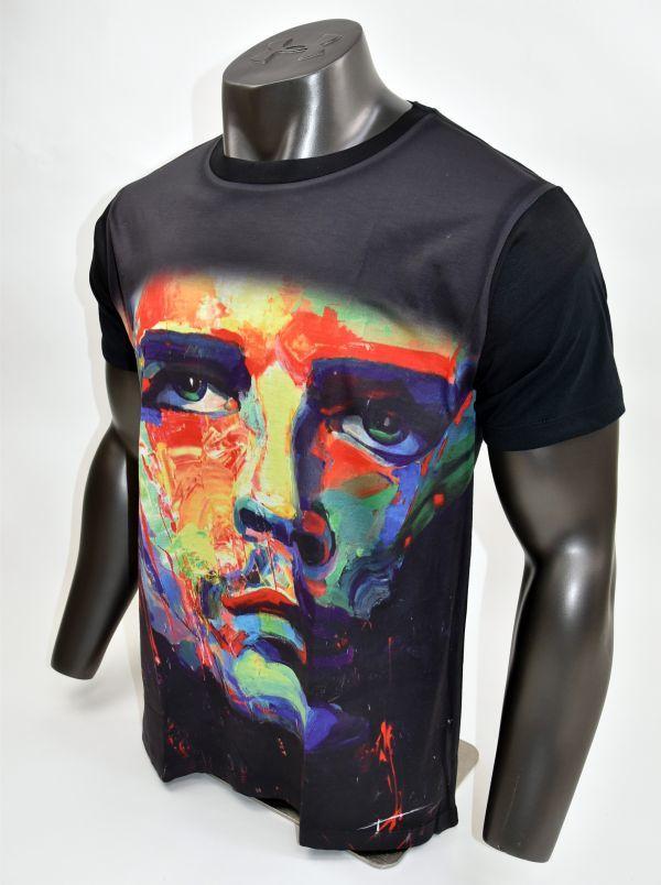 ■ボブ・マーリー(Bob Marley)フェイスTシャツ Mサイズ 黒/ブラック レゲエ カラフル プリント フィットデザイン 半袖 丸首■T-shirt_画像2