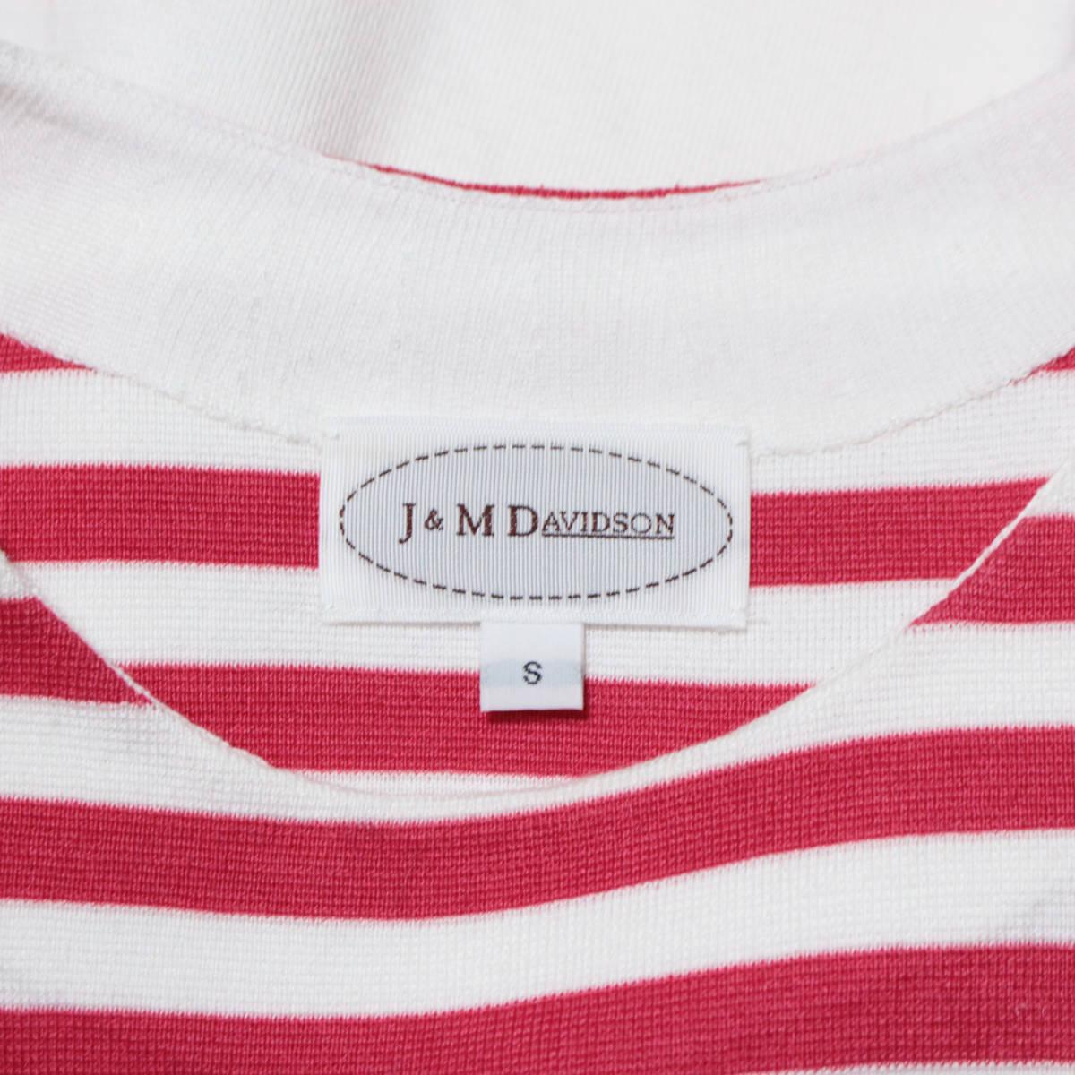 美品* J&M DAVIDSON ジェイアンドエムデヴィッドソン 参考価格5.7万 ボーダー柄ノースリーブワンピース ホワイト×ピンク Sサイズ 綿100%_画像4