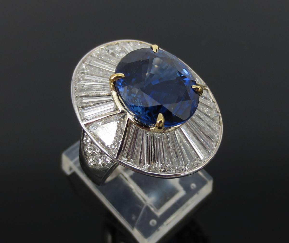 ◆ロイヤルブルー◆存在感抜群《15ct ダイヤモンド&セイロン・サファイヤ》プラチナ&K18リング指輪_画像6