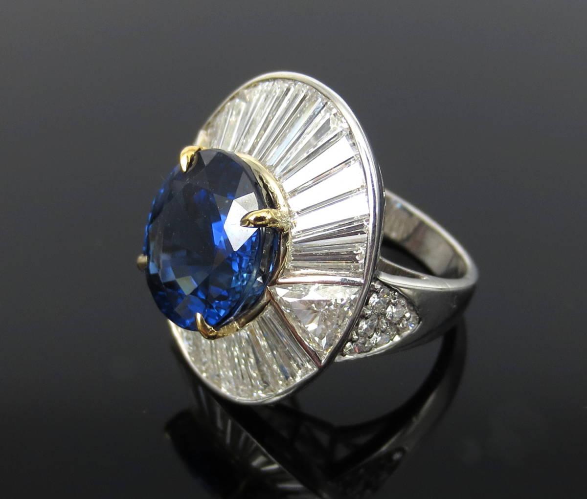 ◆ロイヤルブルー◆存在感抜群《15ct ダイヤモンド&セイロン・サファイヤ》プラチナ&K18リング指輪_画像3
