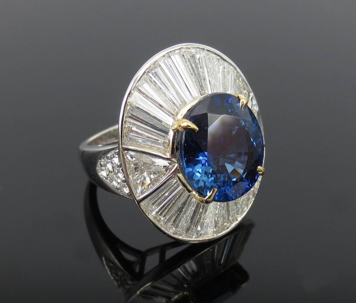 ◆ロイヤルブルー◆存在感抜群《15ct ダイヤモンド&セイロン・サファイヤ》プラチナ&K18リング指輪_画像2