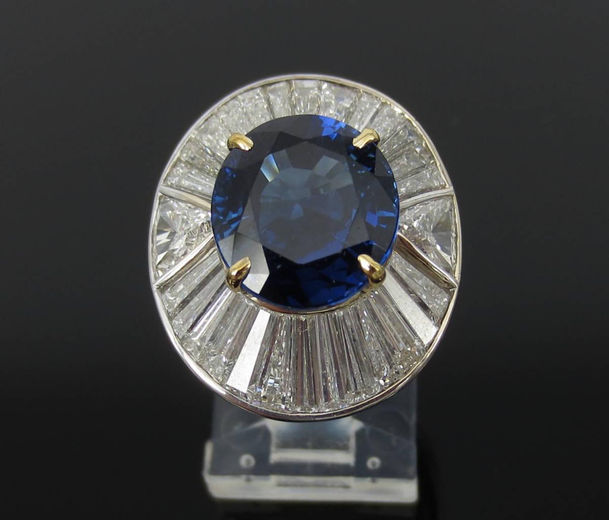 ◆ロイヤルブルー◆存在感抜群《15ct ダイヤモンド&セイロン・サファイヤ》プラチナ&K18リング指輪_画像5