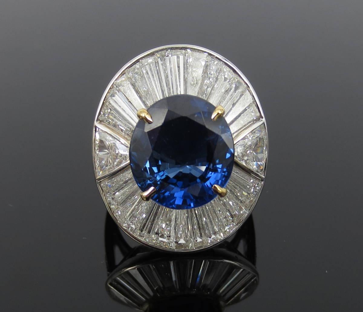 ◆ロイヤルブルー◆存在感抜群《15ct ダイヤモンド&セイロン・サファイヤ》プラチナ&K18リング指輪_画像1