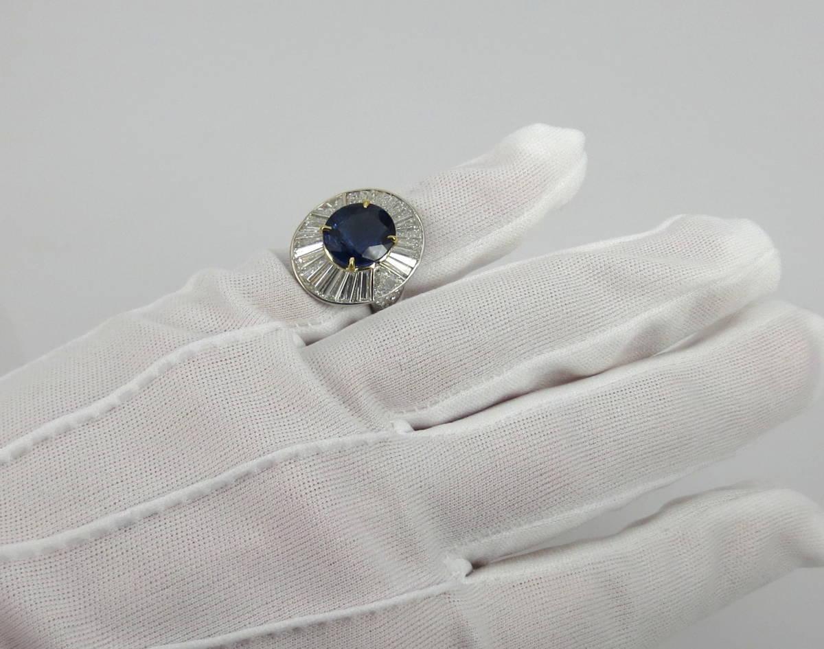 ◆ロイヤルブルー◆存在感抜群《15ct ダイヤモンド&セイロン・サファイヤ》プラチナ&K18リング指輪_画像9