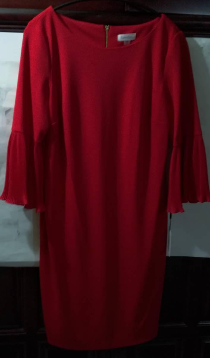 カルバンクライン ワンピース 14 プリーツ袖 XXL位 赤