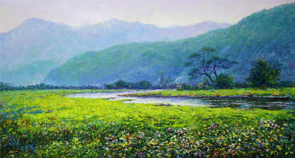 油絵、油彩「自然、風景画」景色7 北朝鮮1級画家肉筆保証