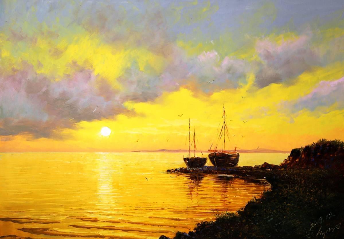 ■mh 油絵 油彩 絵画 風景画 海上船 一級画家 肉筆保証