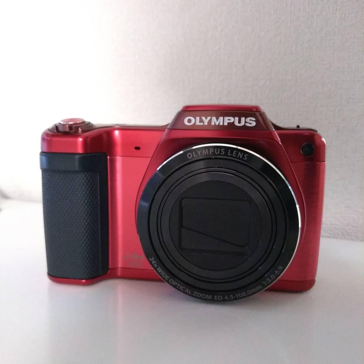 【送料無料】OLYMPUS オリンパス SZ-15 レッド ジャンク品 / 純正バッテリーLI-50B / セットアップCD / 取説