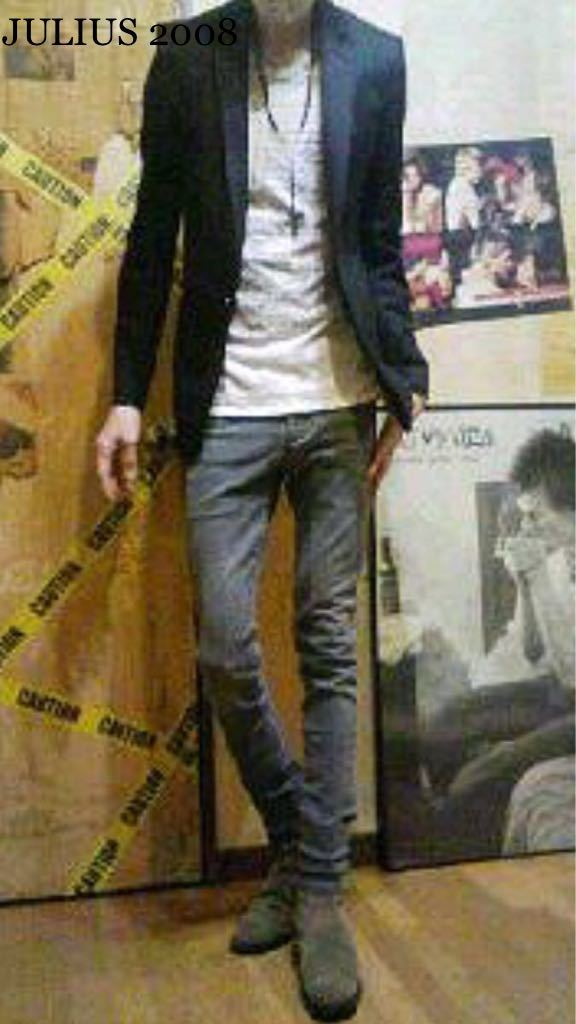 正規【JULIUS】2008ss Giza cotton100% Tシャツ☆ ユリウス アルファベット 筆記体転写 カットソー size 2☆