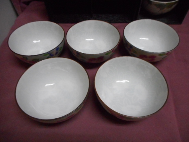 銀花飯碗5客 絵変わり 都草花飯碗5客揃 セラミック藍 未使用 検 キッチン 食器 和食器 飯碗