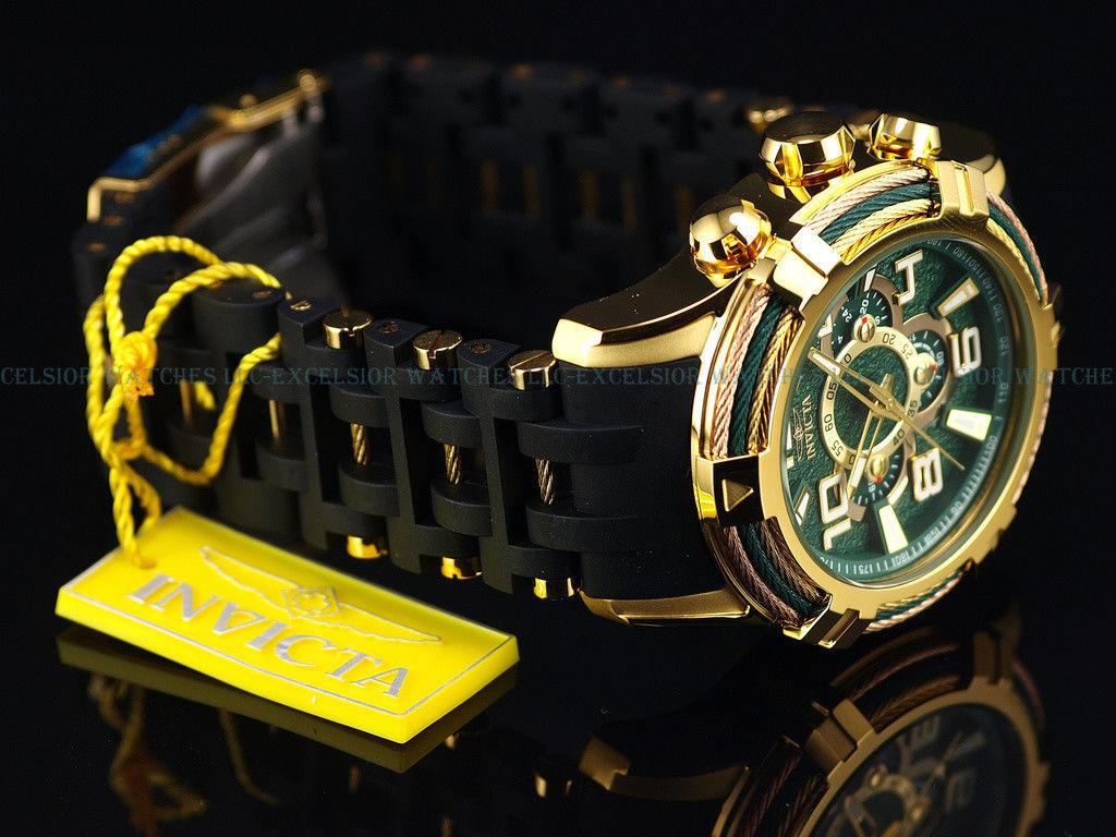 最落なし 1円- Invicta インビクタ【上品かつ派手な一品】50mm Bolt Green Spider グリーン ゴールド Chrono クロノ 18K Gold Watch 25557