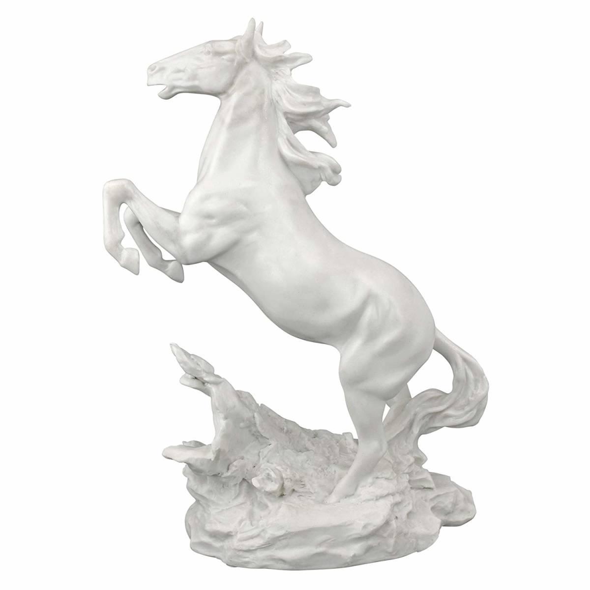 デザイン・トスカナ製 手付かずの美しさの大理石風 駿馬の像彫刻 彫像置物/ Design Toscano Untamed Beauty Bonded Marble Horse Statue(_画像4