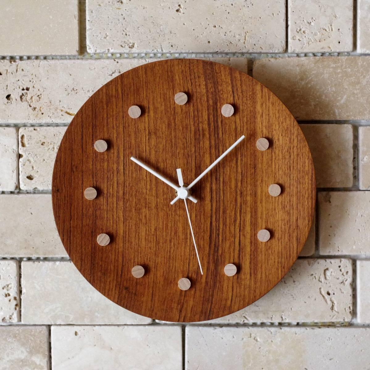 ビンテージ 日本製 TEAK チーク 壁掛け 電波時計 壁掛け時計 プレート 木製 木目 北欧風_画像1
