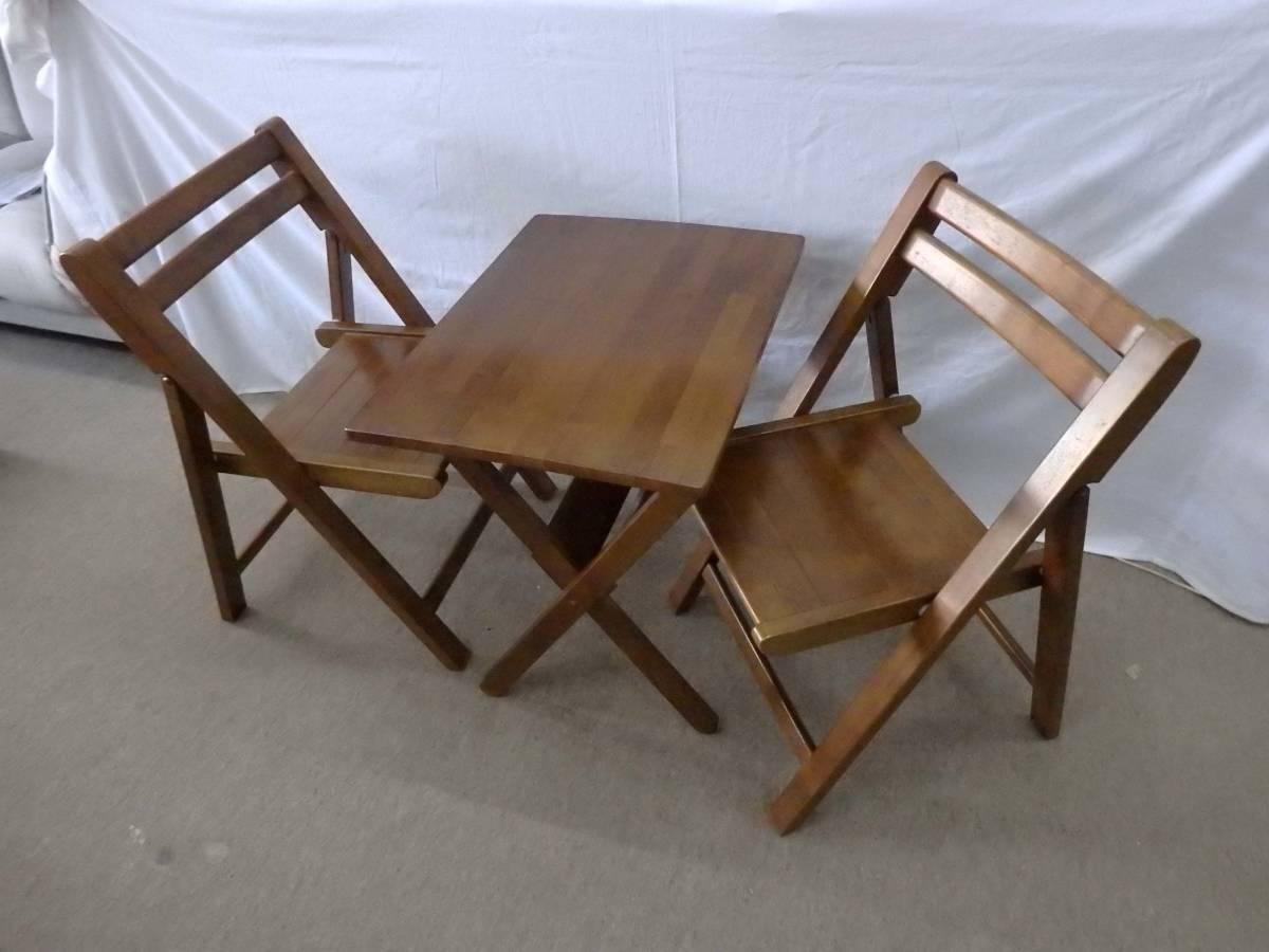 【アウトレット品】光製作所 ダイニングテーブルセット カフェテーブルセット 3点セット 折りたたみ式 DBR色_画像2