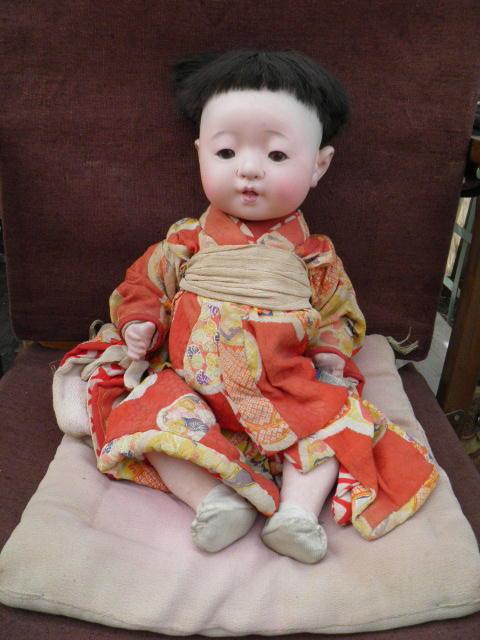 古い市松人形 時代 抱き人形 市松人形 女の子(民藝 古民具 日本人形 泣き人形 郷土 民俗