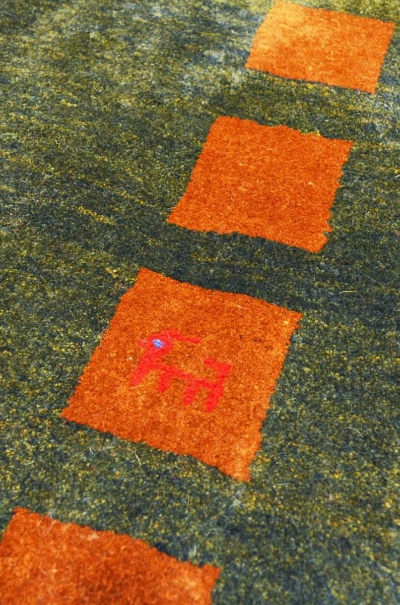 ◆ペルシャギャッベ◆手織り手紡ぎ◆GABBEHギャッベ◆カーペット◆イラン◆ペルシャ絨毯◆リビングサイズビッグ 148cmx198cm LV854_画像4
