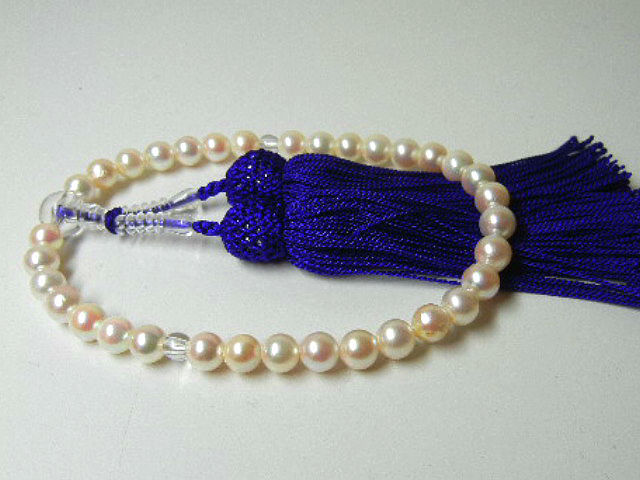 訳あり 真珠専科 色テリ巻き良 数珠 あこや真珠 7.5-7.0㎜ 紫房