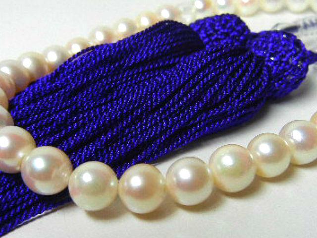 訳あり 真珠専科 色テリ巻き良 数珠 あこや真珠 7.5-7.0㎜ 紫房_画像5
