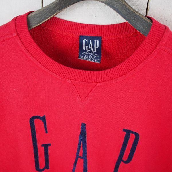 90s*オールドギャップ*GAP*ロゴ刺繍スウェットトレーナー(L/G)レッド_画像2