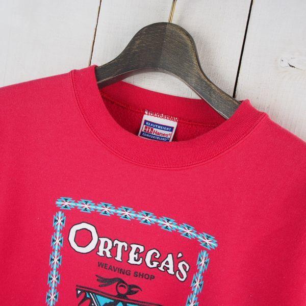 90s Hanes ORTRGA'S オルテガ チマヨ 裏起毛 ヘビーウェイトスエットトレーナー ネイティブ_画像2