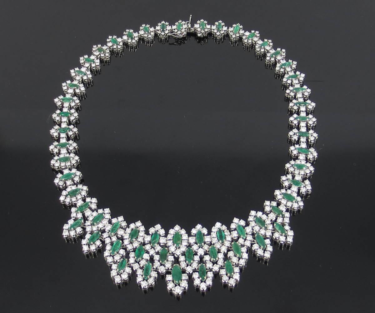 【ヴィンテージ】29.0ct ダイヤモンド 24.0ct コロンビア産 エメラルド 18金ホワイトゴールド ネックレス_画像1