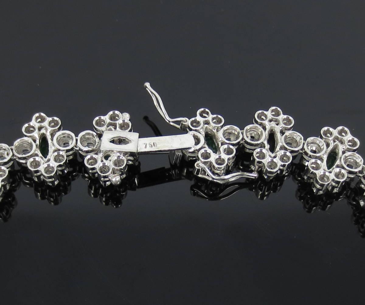 【ヴィンテージ】29.0ct ダイヤモンド 24.0ct コロンビア産 エメラルド 18金ホワイトゴールド ネックレス_画像8