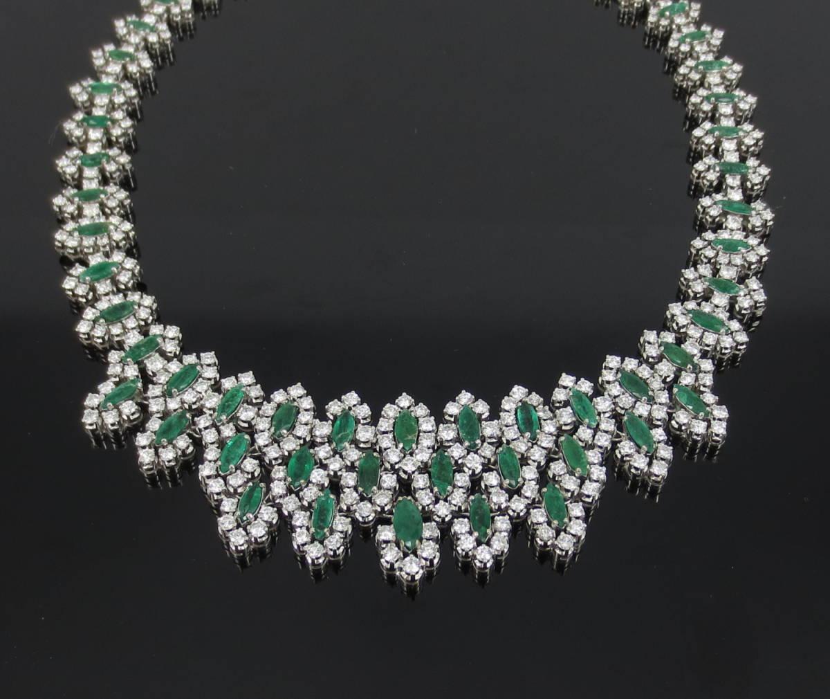 【ヴィンテージ】29.0ct ダイヤモンド 24.0ct コロンビア産 エメラルド 18金ホワイトゴールド ネックレス_画像2