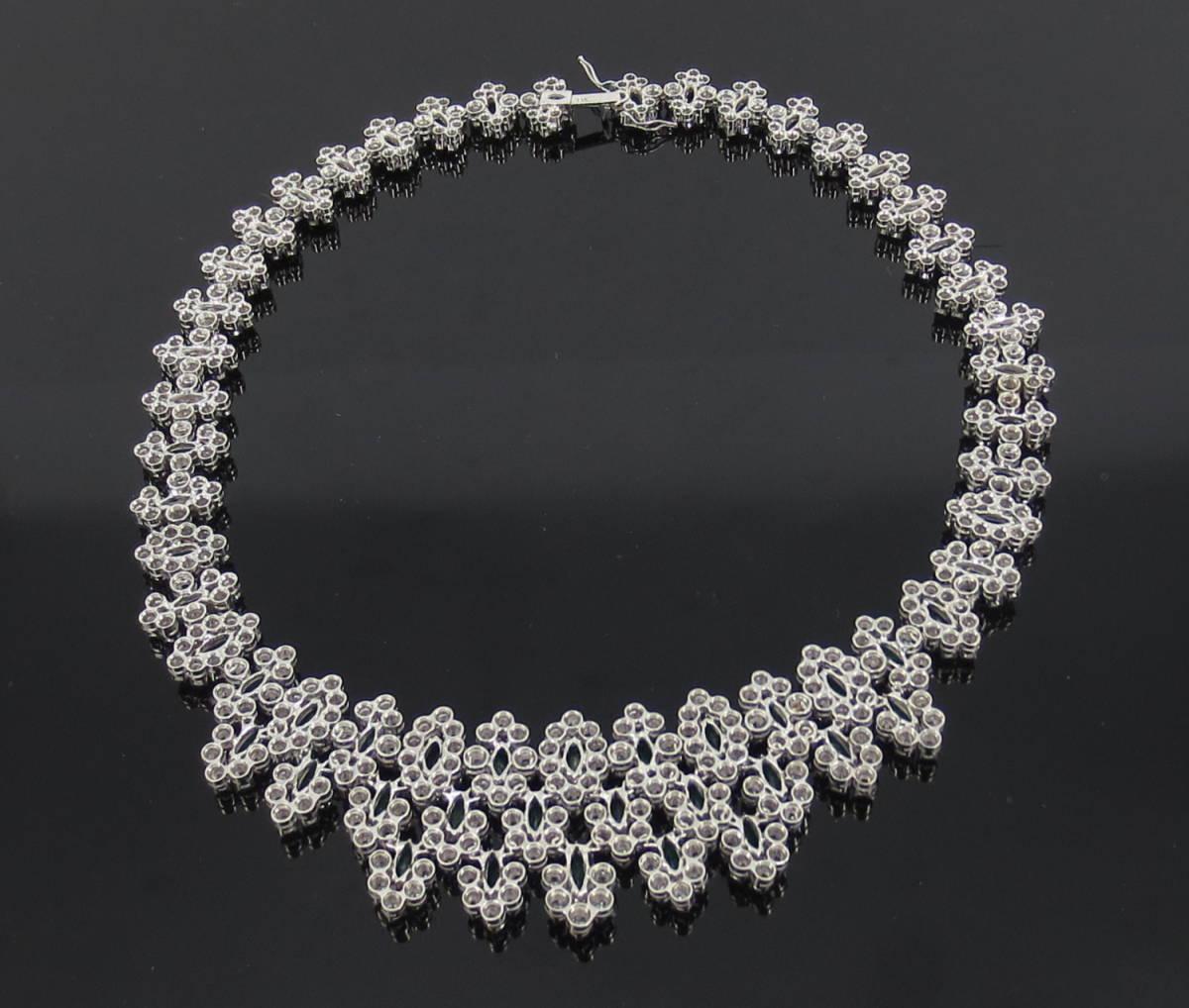 【ヴィンテージ】29.0ct ダイヤモンド 24.0ct コロンビア産 エメラルド 18金ホワイトゴールド ネックレス_画像5