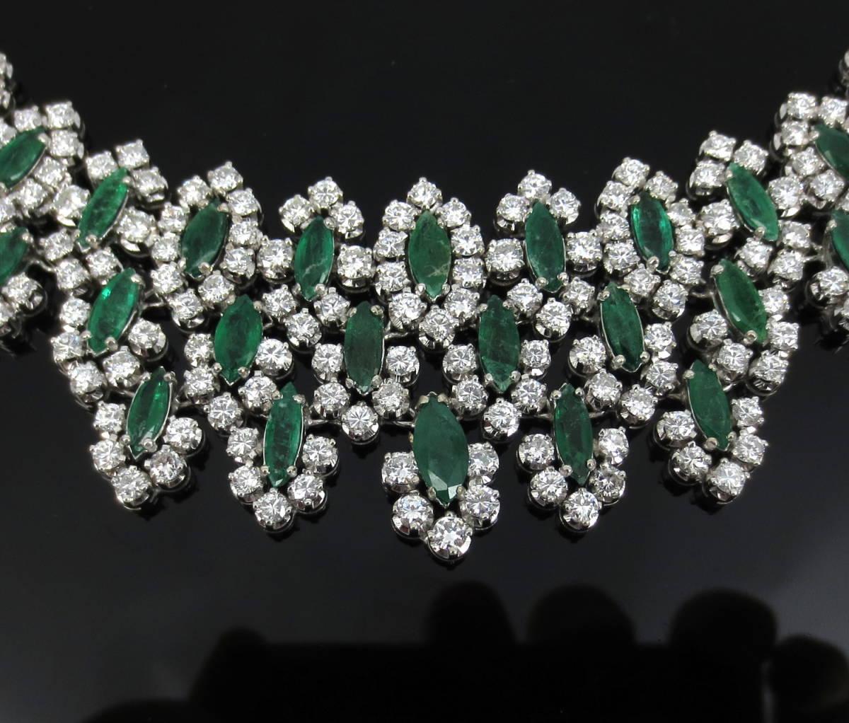 【ヴィンテージ】29.0ct ダイヤモンド 24.0ct コロンビア産 エメラルド 18金ホワイトゴールド ネックレス_画像7