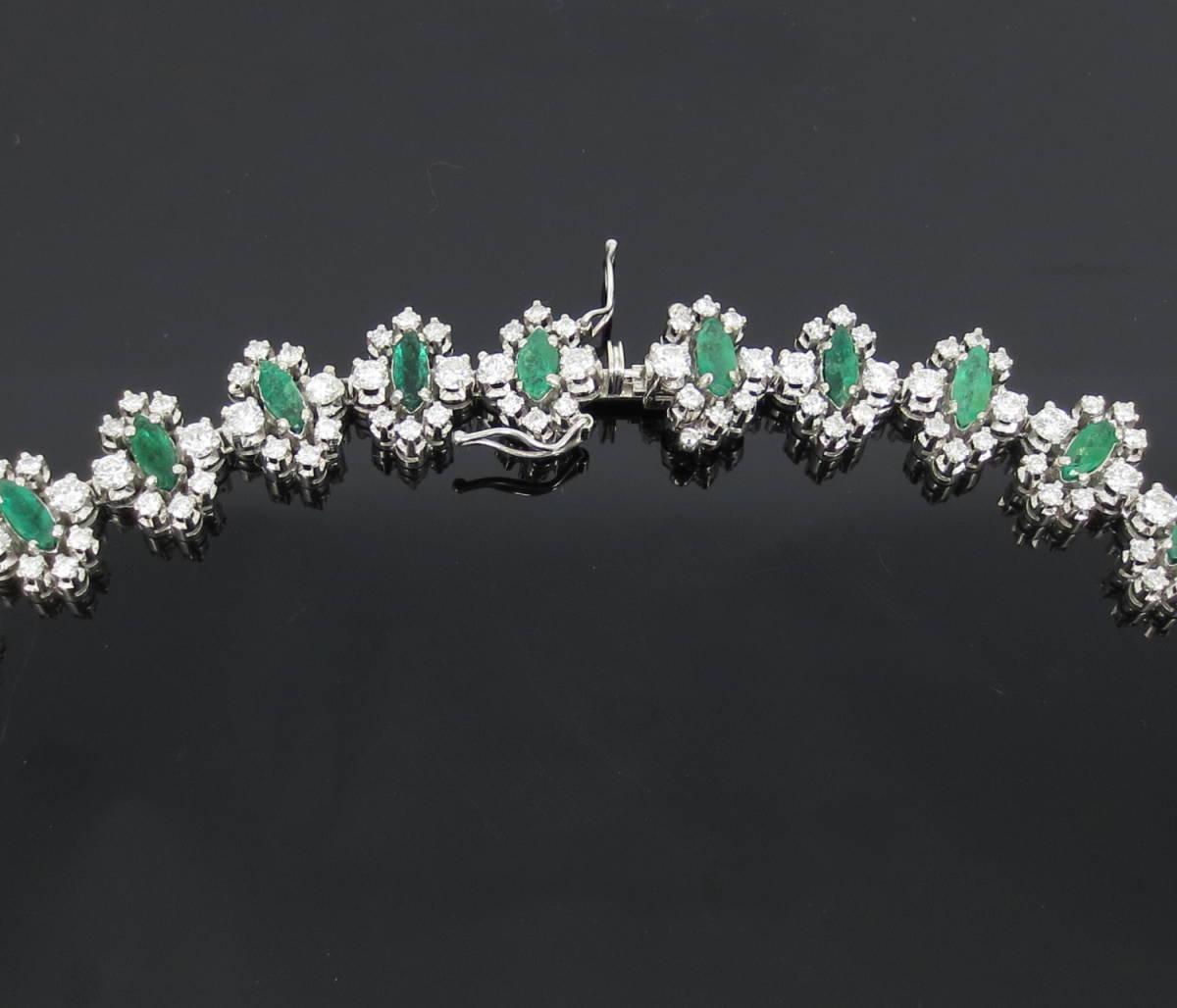 【ヴィンテージ】29.0ct ダイヤモンド 24.0ct コロンビア産 エメラルド 18金ホワイトゴールド ネックレス_画像4