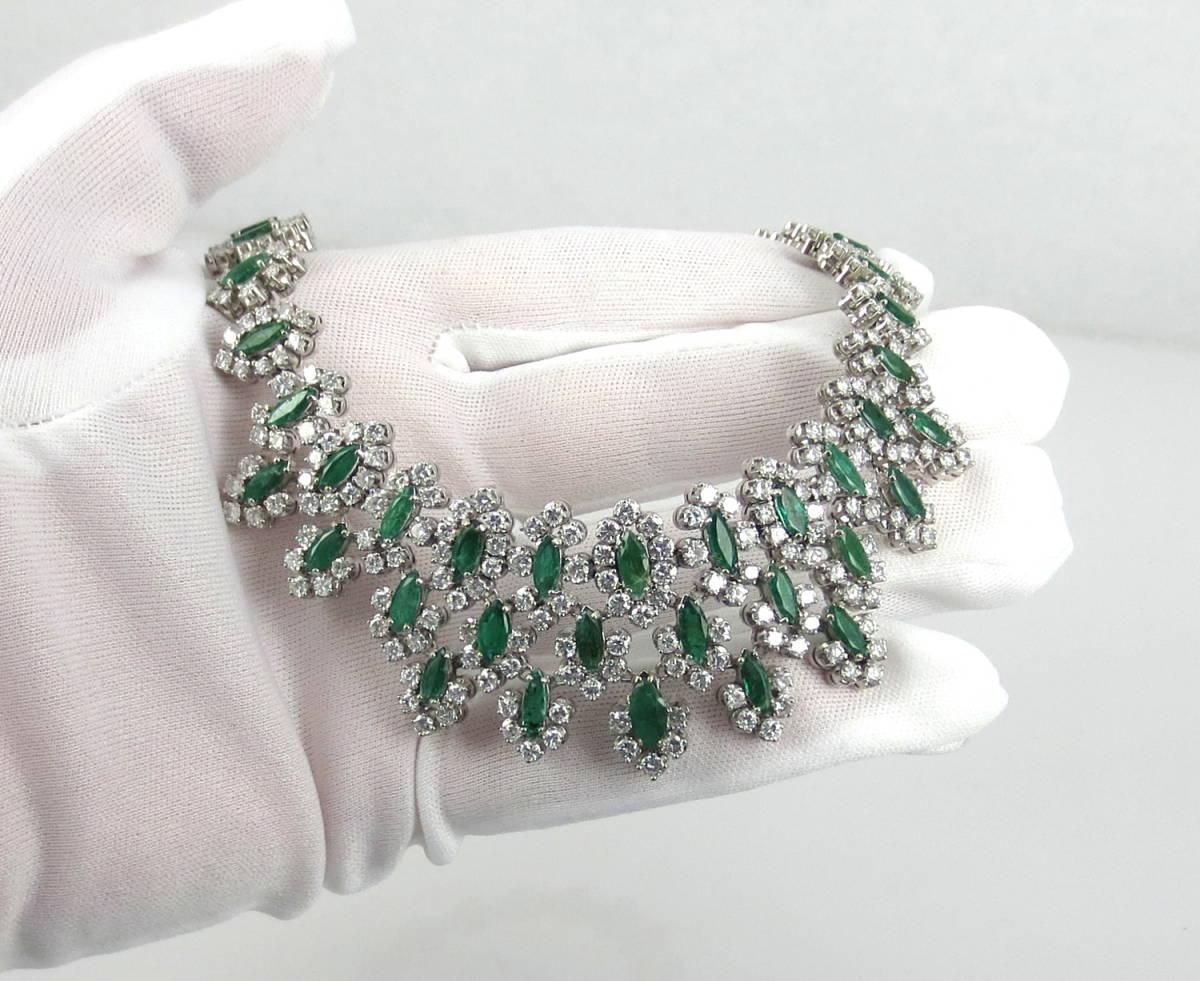 【ヴィンテージ】29.0ct ダイヤモンド 24.0ct コロンビア産 エメラルド 18金ホワイトゴールド ネックレス_画像9