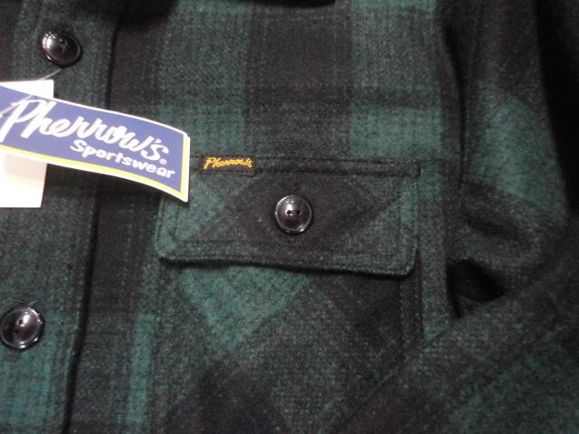 【フェローズ】GREEN/L Pherrow's バッファローチェックシャツ 長袖ウールシャツ 14W-PWSJ1_画像4