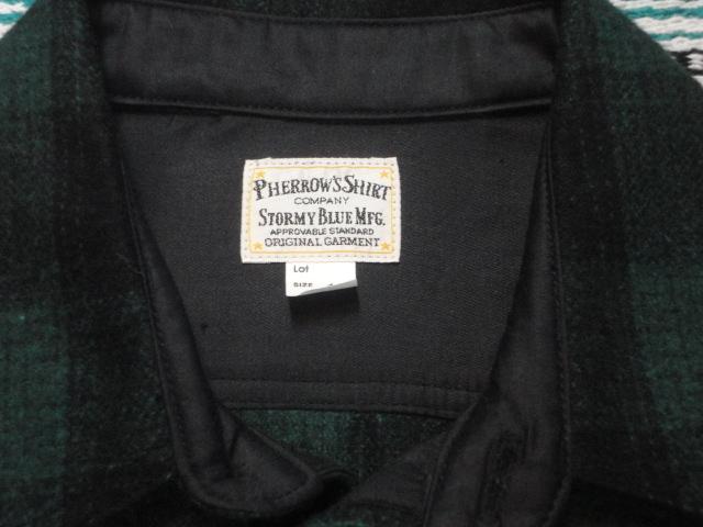 【フェローズ】GREEN/L Pherrow's バッファローチェックシャツ 長袖ウールシャツ 14W-PWSJ1_画像5