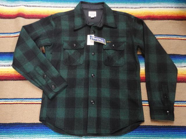 【フェローズ】GREEN/L Pherrow's バッファローチェックシャツ 長袖ウールシャツ 14W-PWSJ1_画像1