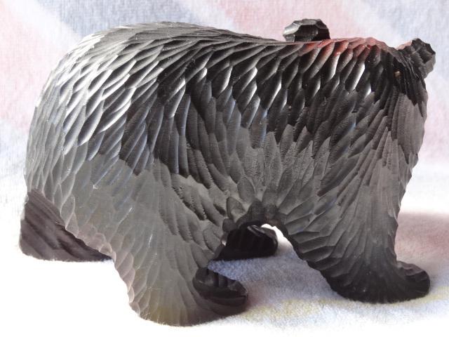 鮭を咥えた 木彫 熊 ☆ 木彫りの熊 ★ 置物 ☆ 北海道 ★ ブラック ☆ 伝統工芸 美術品 ★ インテリア ☆ アンティーク・アイヌ・昭和58年_画像2