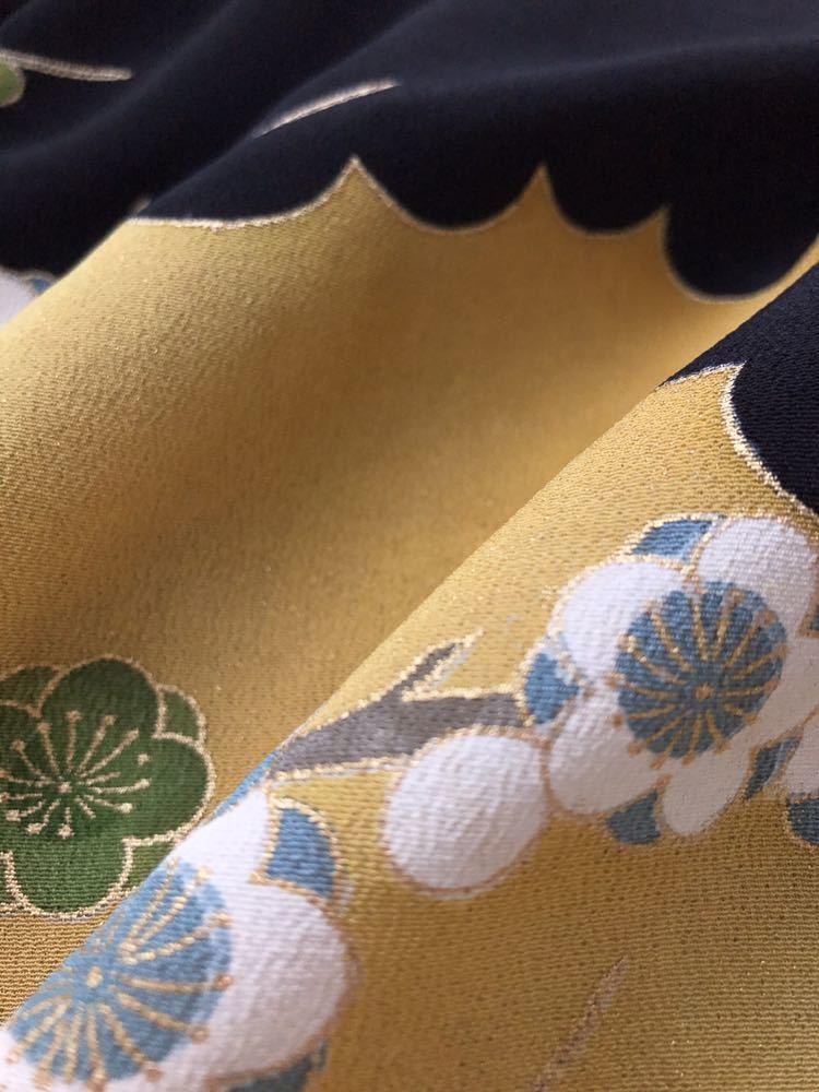 【心和】着物 リメイク チュニックワンピース パーティードレス 金糸自然風景植物文様柄 和柄 和布 M~L ハンドメイド 一点物_画像10