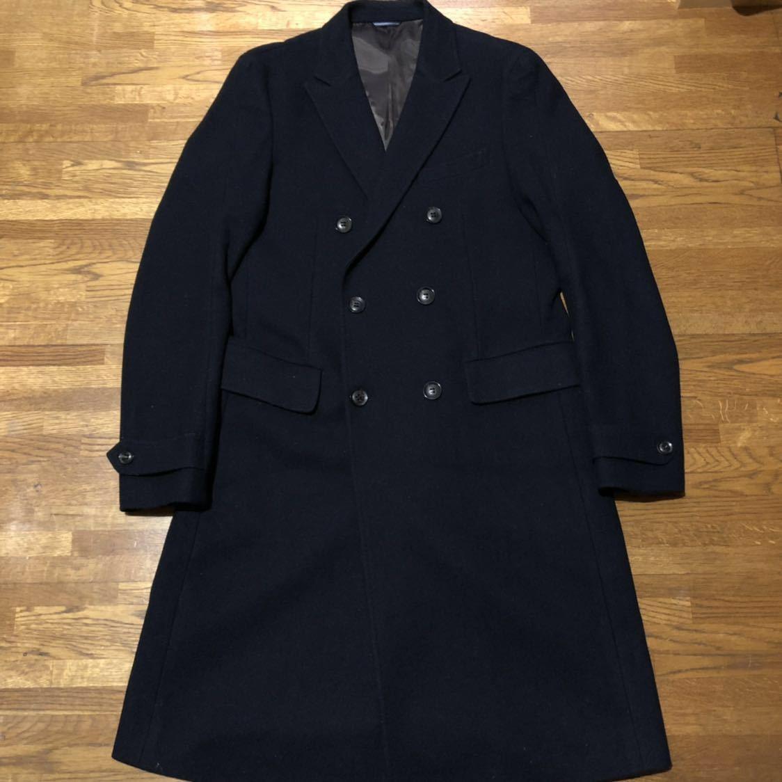 【定番】jun hashimoto trench coat ジュンハシモト ウール ダブル ロング トレンチ コート1011520013 定価97.200円 ネイビー 3