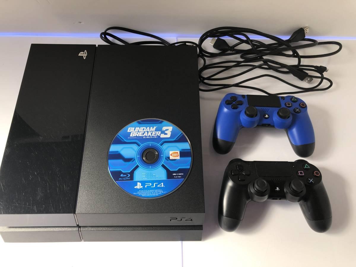 【送料無料・0円スタート】PS4 ジェットブラックCUH-1000A コントローラー2つ付属 動作確認・初期化済み