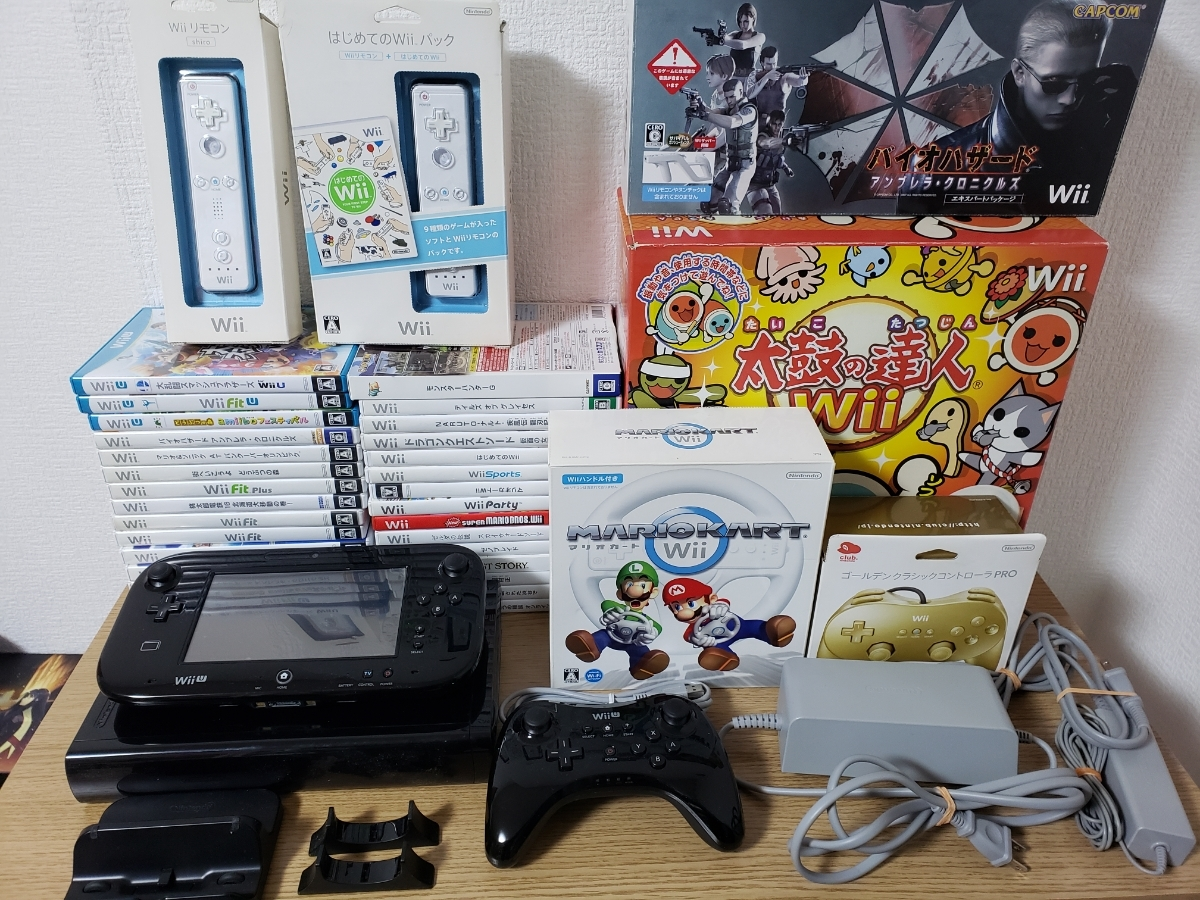 Wii U本体+ソフト33枚セット/大乱闘スマッシュブラザーズ/どうぶつの森/バイオハザード/太鼓の達人/ドラゴンクエスト/スーパーマリオ