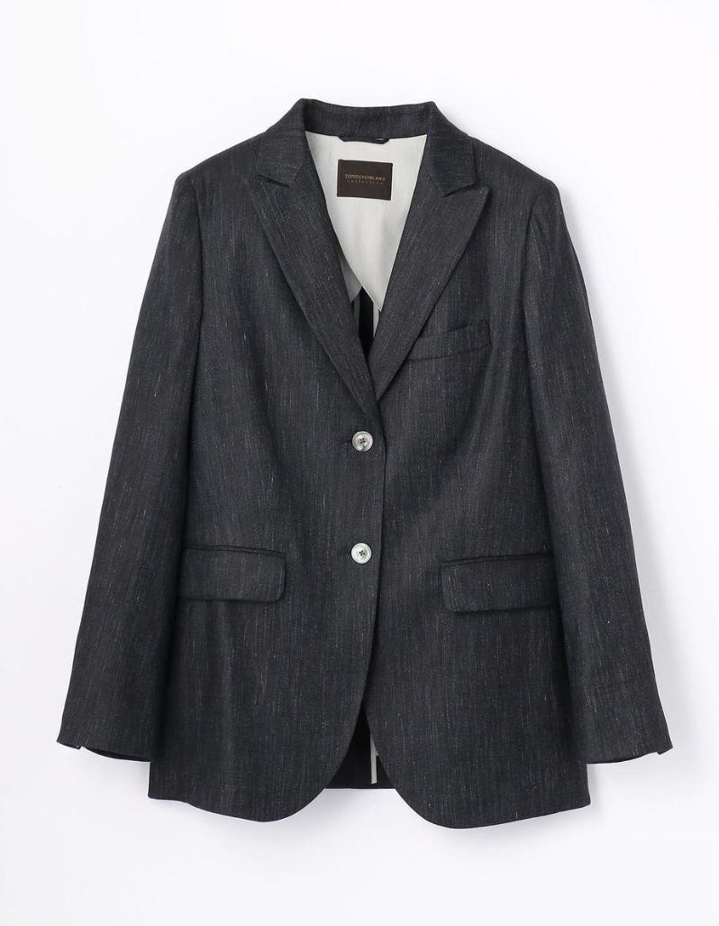 新品タグ付 2018ss TOMORROWLAND collection リネンレーヨンシャンブレー セミピークドラペルジャケット