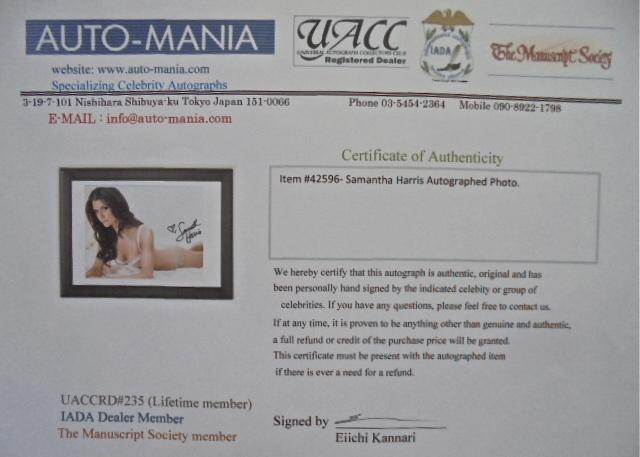 USAセクシーモデルの Samantha Harris サマンサ・ハリス Autographed Photo直筆サイン入りフォト本物美品_画像4
