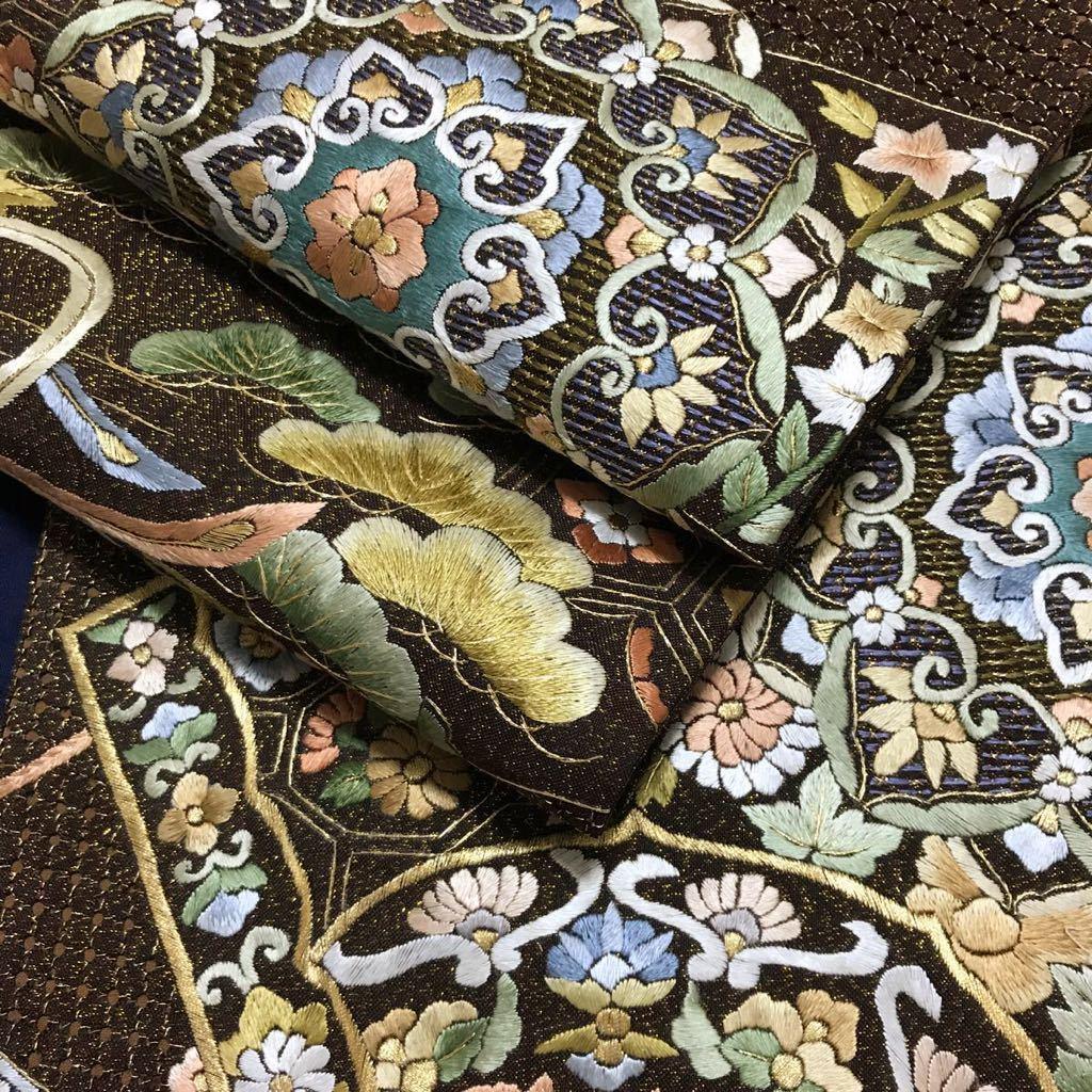 逸品 総刺繍 鳳凰華文様の袋帯 未使用品 汕頭刺繍 蘇州刺繍 金通し 正絹 金糸 6通柄