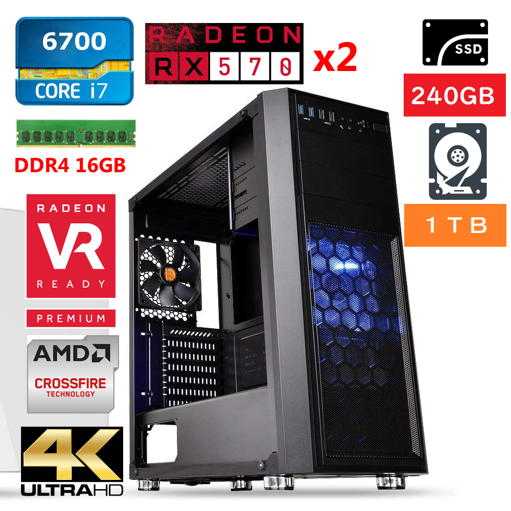 【動作確認済み!】自作ゲーミングデスクトップPC/激速 i7搭載/4K4画面/AMD CrossFire/新品SSD240+HDD1TB+メモリ16GB/Windows10pro