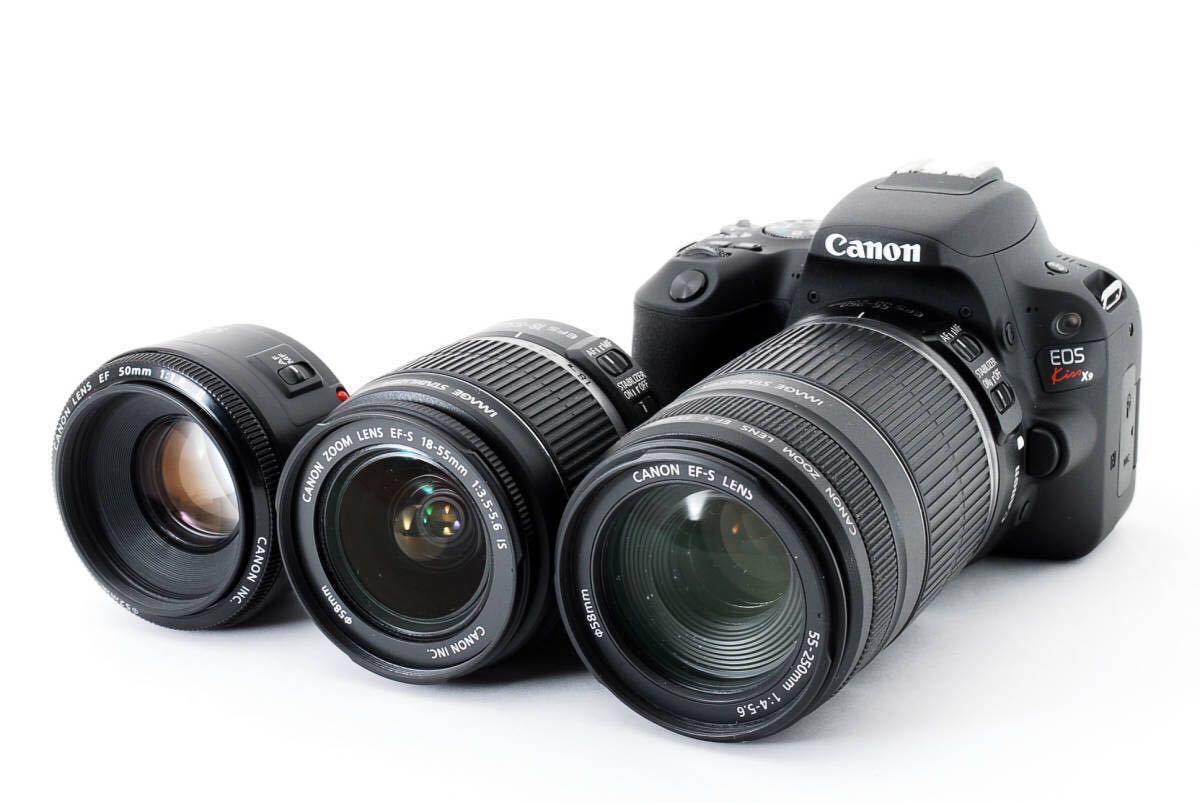 ★ 小型軽量 ボディ ★ Canon EOS Kiss X9 ? 純正 トリプル レンズ (手ぶれ補正 単焦点 250mm望遠) キヤノン 初心者 入門機 ★389580(43)