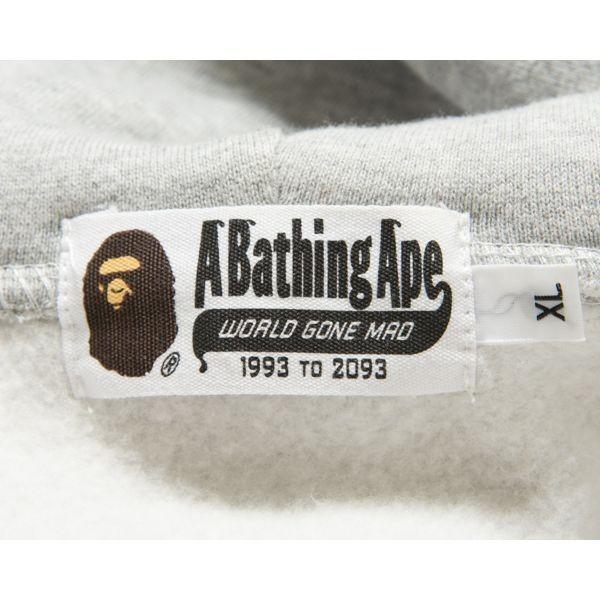 A BATHING APE ジップアップフーディー 裏起毛 裏原カルチャー NOWHERE NIGO オリジナルジップ カジュアル コットン グレー XL mf02d029