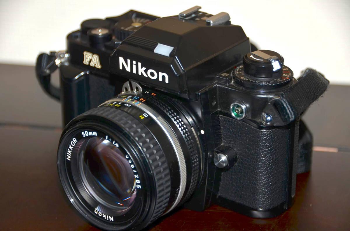 Nikon FA ニコン フィルムカメラ ブラック Nikkor 50mm f1.4 Ai-S レンズ National PE-200 S ストロボ ケース ストラップ 付き_画像2