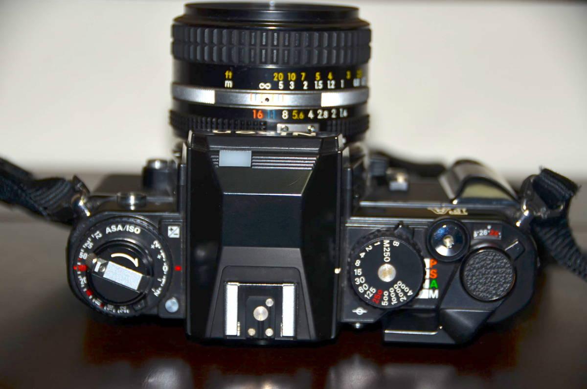 Nikon FA ニコン フィルムカメラ ブラック Nikkor 50mm f1.4 Ai-S レンズ National PE-200 S ストロボ ケース ストラップ 付き_画像5